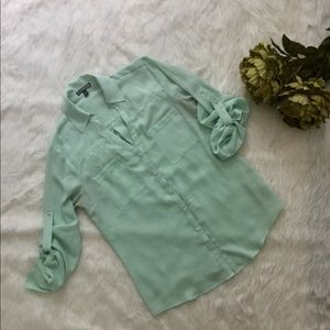 Express Sheer Button Up Blouse